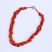 Three Rows 6mm Agate Beads Necklace