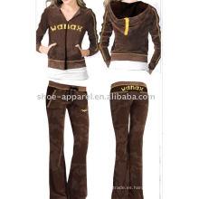 traje de negocios de las señoras chándales de diseño de terciopelo