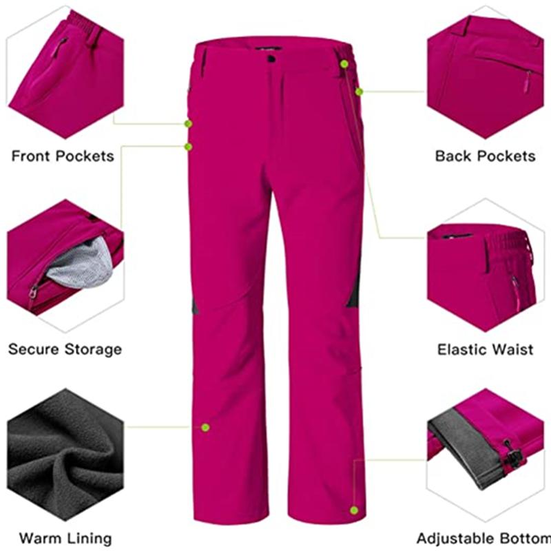 Women S Insulated Ski Pants Softshell Fleece Lined Windproof Overalls6