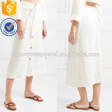 Laço de linho branco cintura Midi saia de verão com botão de manufatura atacado Moda Feminina Vestuário (TA0002S)