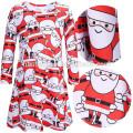 Мода С Длинным Рукавом Красный Мать Дочь Рождественские Наряды Комплект Одежды Санта-Клауса Печатных Женщины Детей Рождество Платье