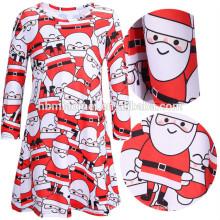 Moda manga comprida mãe vermelha filha desgaste de festa de natal conjunto de roupa papai noel impresso mulheres crianças vestido de natal