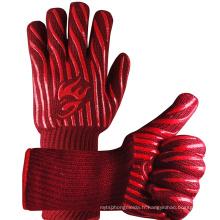 Gants de barbecue rouges longs de manchette de 14 pouces, gants de gril de BBQ résistant à la chaleur de 932 degrés Fahrenheit
