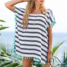 Vente chaude en mousseline de soie en vrac petite robe de plage gland (50157)