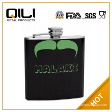 FDA 6oz Green and Black leather wrapped 6oz Mustache Hip Flask