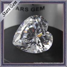 Diamond Cut Heart Shape CZ Gemstones