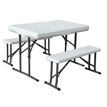 3PCS Pong Beer Folding Table and Bench Set