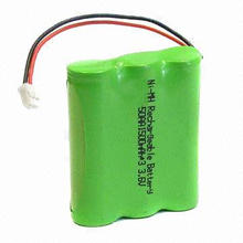 3.6V NiMH Battery Pack with AA x 1,500mAh Nominal Capacity, Used in Cordless Phone