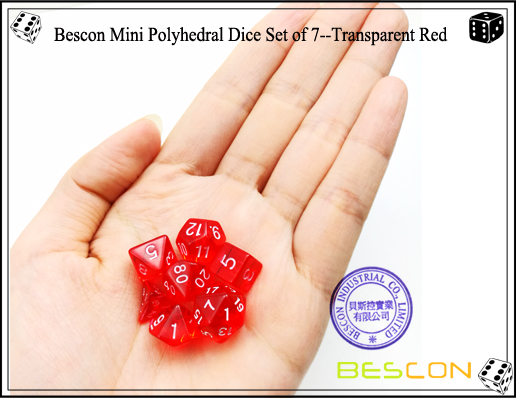 Bescon Mini Polyhedral Dice Set of 7--Transparent Red-5