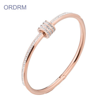 18k Rose Gold Small Bangle Armband Med Stenar