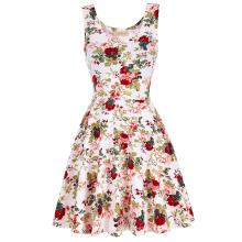 Kate Kasin Elegante y Slim Fit sin mangas U-cuello vestido de verano de impresión floral KK000297-2