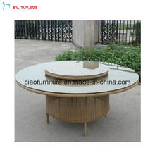 C-Hand Woven Outdoor Rattan Round Rotatable Big Dining Table