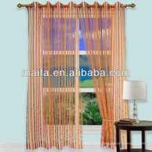 Stripe Design Eyelets Top Readymade Organza Jacquard Curtain Tiebacks