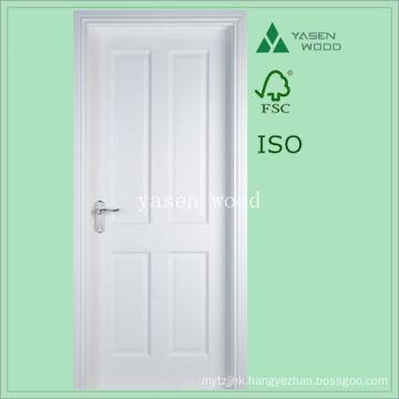 4 Panel White Primed Paint Wooden Door