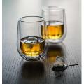 Tasse à l'eau en verre à whisky à double mur fait main pour grossiste