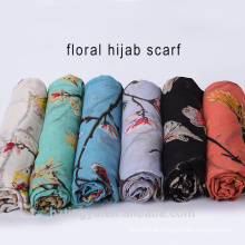 Bird Floral Head Scarves Hijab Print Wholesale Polyester Voile Scarf Hijab For Ladies