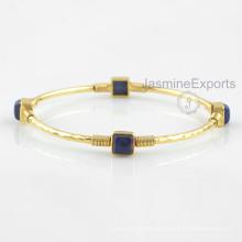 Schönes 18k Gold Lapis Armband, 925 Sterlingsilber-Armband-Schmucksachen für Großhandelslieferant