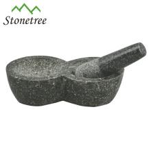 Gros mortier et pilon de granit noir pour herbes et épices, herbe de broyeur avec deux mortiers, ustensiles de cuisine en pierre