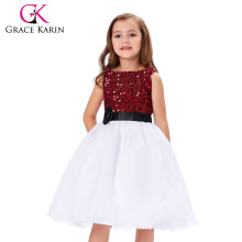 Grace Karin 2016 sin mangas de flores de lentejuelas niña princesa de dama de honor vestido de fiesta de la fiesta de baile CL008934-1