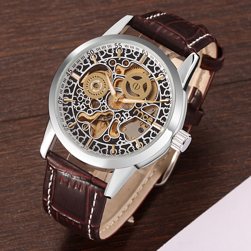 Brown Leather Man Mechanical Watch Factory
