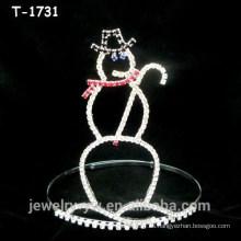 Coronas de Navidad de muñeco de nieve de cristal de diseño simple