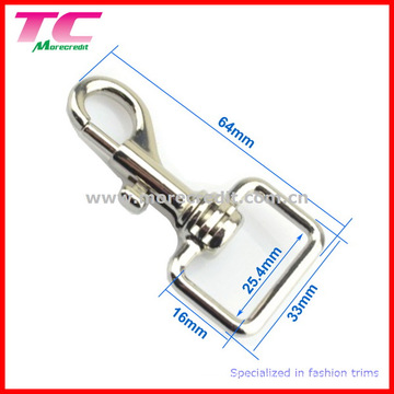 Shiny Silver Square Swivel Eye Snap Hook for Bag
