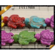 Perle de mode, Perles en forme de tortue en turquoise en alliage de couleur et mélange (GB0117)
