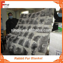 Real Fur Blanket for bed / sofa, rabbit fur
