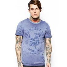 2014 China-Soem-Art und Weise preiswertestes runder Ansatz-Druck 100% Baumwolljersey-Männer T-Shirt