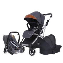 Carrinho de bebê 3 em 1 luxo recém-nascido carrinho de bebê dobrável anti-choque + assento