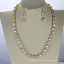 9mm Grade ein Snh Real 925silver Perlen Set
