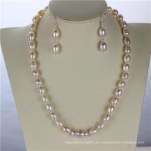 9mm grado a Snh Real 925silver conjunto de perlas