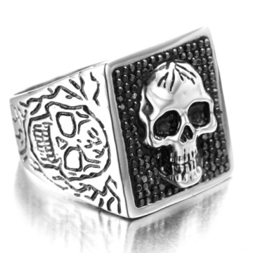 Square plated stainless steel skull ring