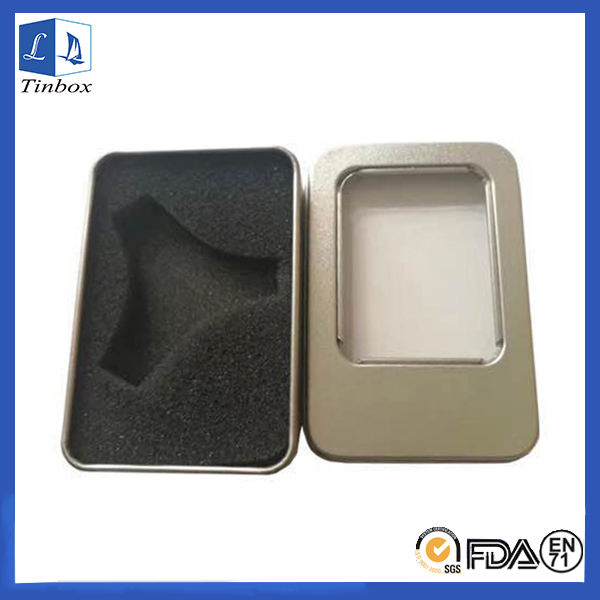 Rectangular Tin Finger Spinner Box With Window