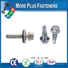"Taiwan 1/4""-14 x 1"" Indent Hex Unslotted Hex Washer Head Epoxy #3 410 Stainless Steel Bonded Sealing Washer Self Drilling Screw"