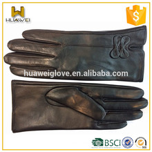 Winter Customed Ladies Leather Gloves Fashion Leather Wrist Gloves