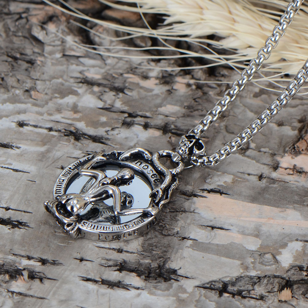 Stainless Steel Women Skull Death's Head Mirror Pendant