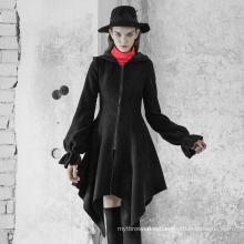 OPY-350  PUNK RAVE Irregular Hem Woolen Coat with Hat women hooded wool coat