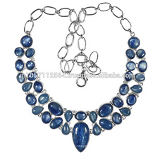Antique Style Natural Kyanite Gemstone 925 Sterling Silver Strand Necklace Jewelry