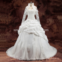 2017 lace applique pleats beads ball gown wedding dress with real pictures