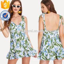 Ruffle Hem Floral Print Dress Fabricação Atacado Moda Feminina Vestuário (TA3220D)