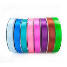 Ruban de satin d'impression simple de polyester de couleur solide pour l'emballage de cadeau