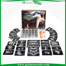Getbetterlife 2014 New Fashionable 20Colors 30 Stencils Glitter Tattoo Set