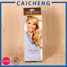 Caja de empaquetado plegable elegante de lujo del papel de extensión del pelo