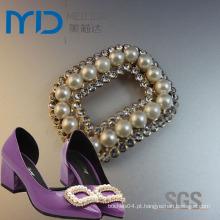 Elegante Rhinestone Shoe Buckle para sapatos de vestido das mulheres com pérola