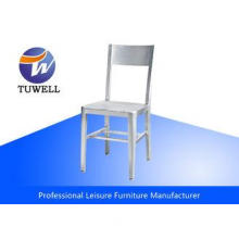 Restaurant Metal Armless Aluminum Navy Chairs With Plastic