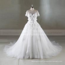 Modest 3D Flowers Short Sleeves A-line Puff Wedding Dress Long Train