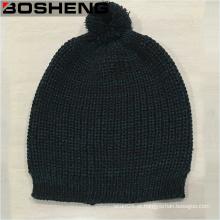 Cinza azul malha Beanie Hat, simples moda chapéu com POM