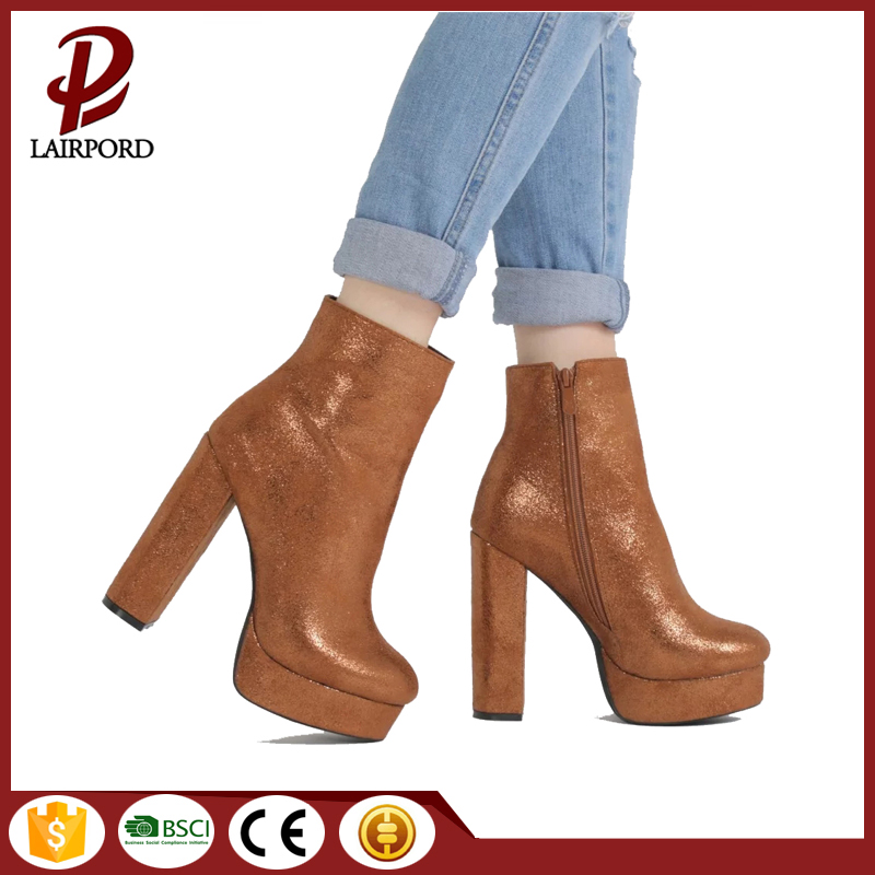 Gold plating leather winter boots for women