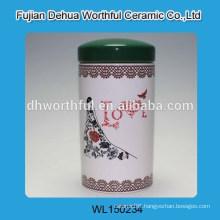 Elegant love figurine ceramic storage tank for tea